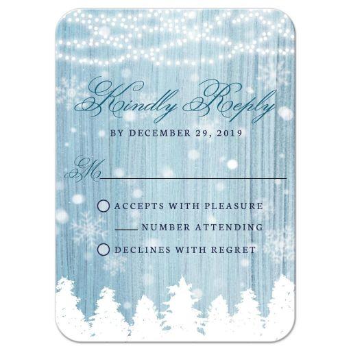 Winter Wonderland Wedding RSVP Cards front