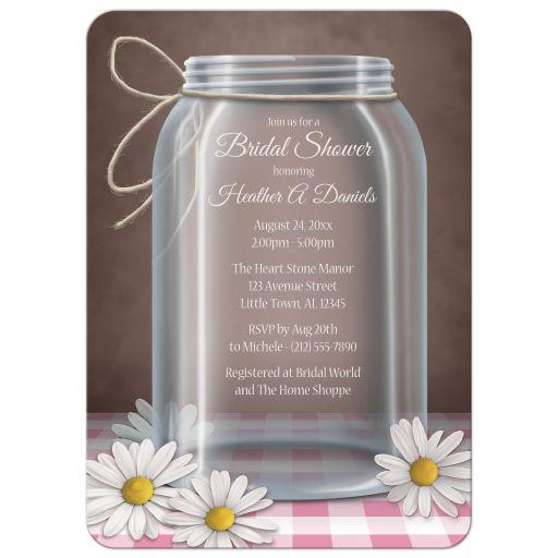 Bridal Shower Invitations - Mason Jar Daisy Pink Gingham