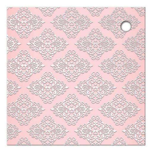 Great blush pink and silver grey damask and glitter wedding shower favor tags