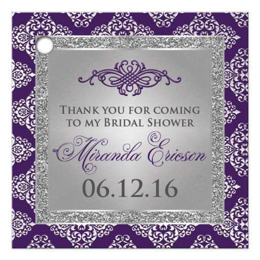 Best purple and silver gray glitter damask  bridal shower favor tag