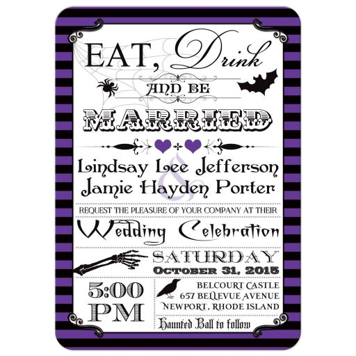 Best Halloween wedding invitation with purple and black stripes