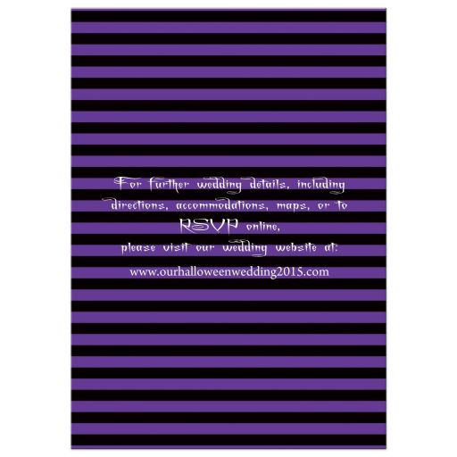 Great purple and black striped halloween wedding invitation with eat, drink and be married