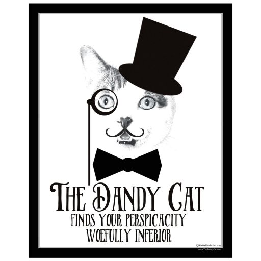 Great Best cat art print with moustache and victorian insult