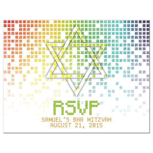 Video game inspired raining digital computer pixels Bar Mitzvah RSVP reply postcard front