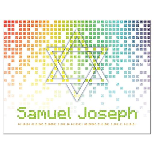 Video game inspired raining digital computer pixels Bar Mitzvah thank you card front