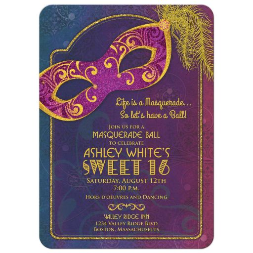 Feathered mask masquerade ball Sweet 16 birthday party invitation front
