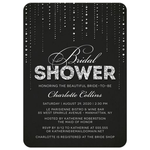 Black & Silver Glitter Look Streaming Gems Bridal Shower Invitations front