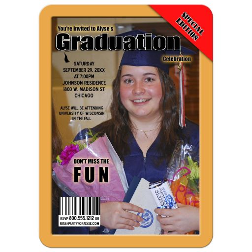 Gold ​Magazine Cover Style Graduation Party Photo Invitation