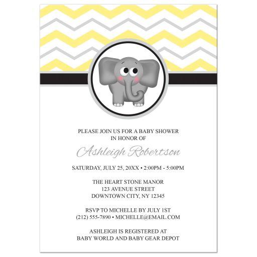 Baby Shower Invitations - Elephant Yellow Gray Chevron