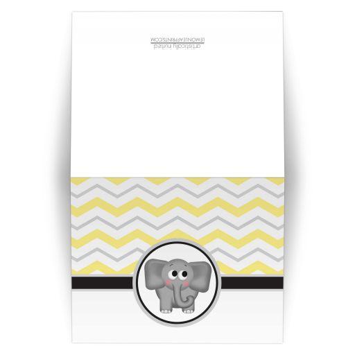 Note Cards - Elephant Yellow Gray Chevron