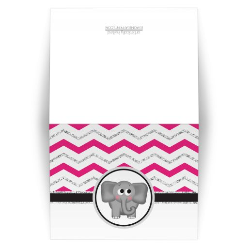 Note Cards - Elephant Hot Pink Silver Glitter Chevron