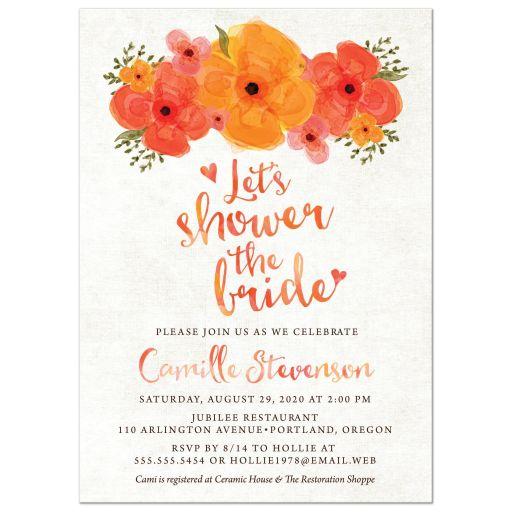 Watercolor Summer Garden Florals Bridal Shower Invitations front