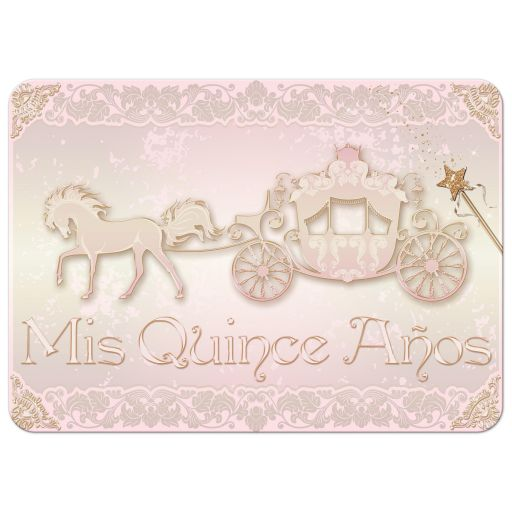 Best pink and gold princess quinceanera invitation with horse drawn carriage