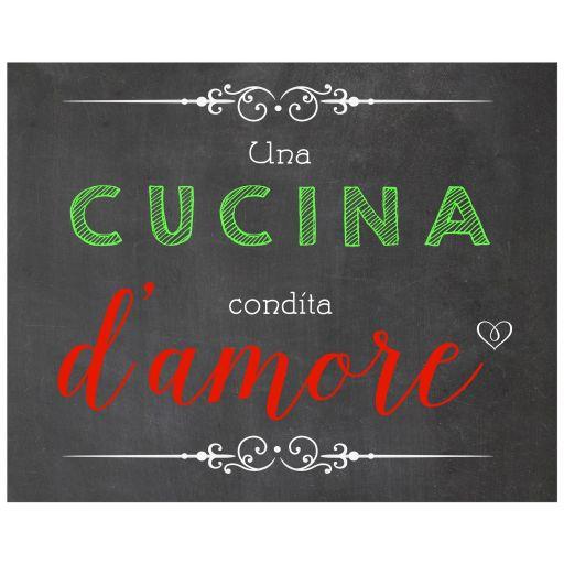 8x10 Una Cucina Condita D'amore Italian Chalkboard Wall Art Print