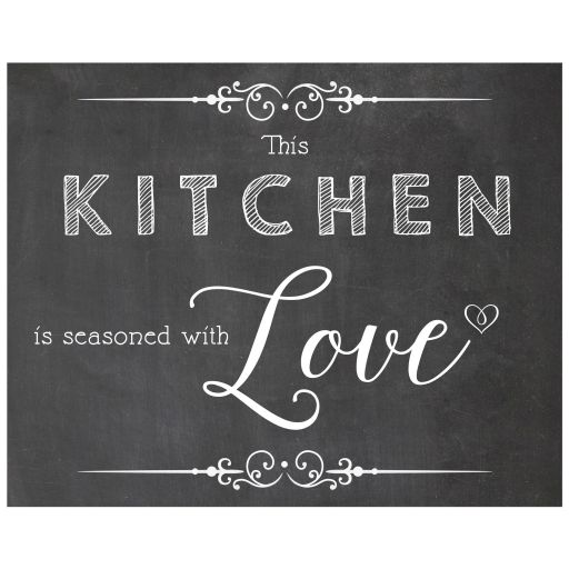 8x10 This Kitchen Is Seasoned With Love Chalkboard Kitchen Wall Art