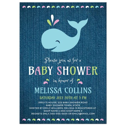 Cute whale baby shower invitation for girls with denim background