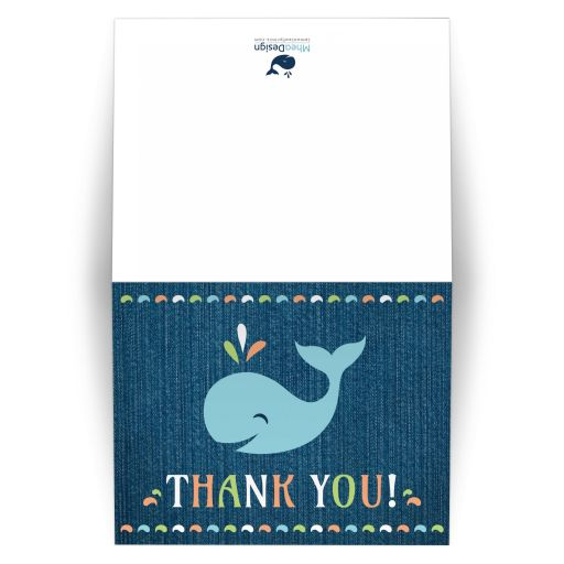 Cute, gender neutral baby shower or birthday party thank you card with whale illustration on blue denim background.