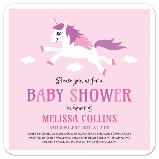 Cute, pink baby shower invitation for girl showers with unicorn cartoon illustration.