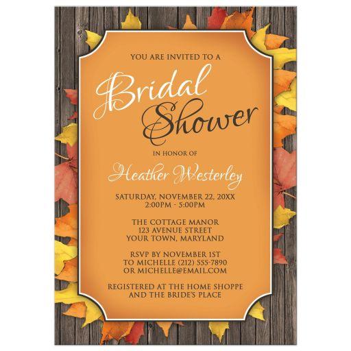 Bridal Shower Invitations - Autumn Orange Wood Leaves