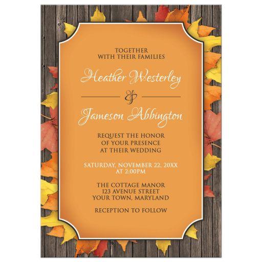 Wedding Invitations - Autumn Orange Wood Leaves