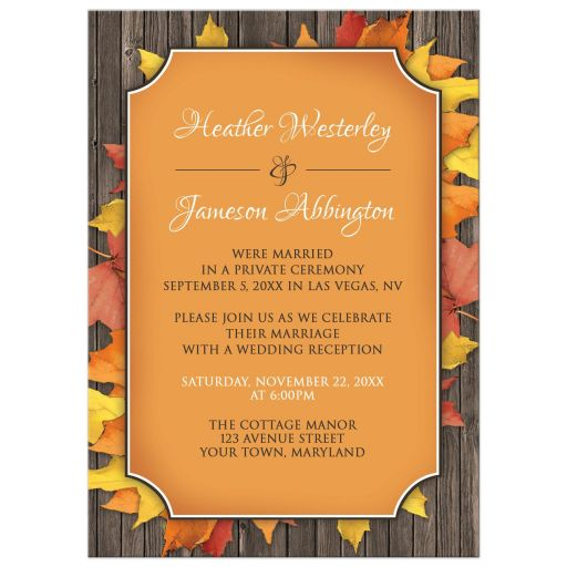 Reception Only Invitations - Autumn Orange Wood Leaves