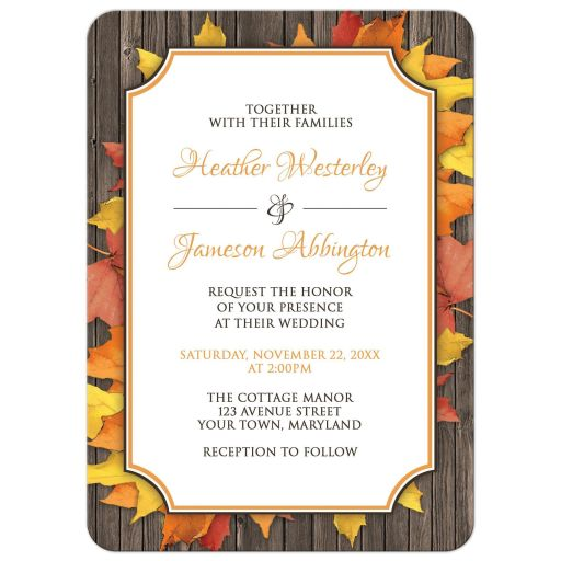 Wedding Invitations - Autumn Orange White Wood Leaves