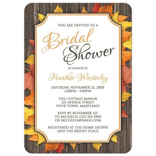 Bridal Shower Invitations - Autumn Orange White Wood Leaves