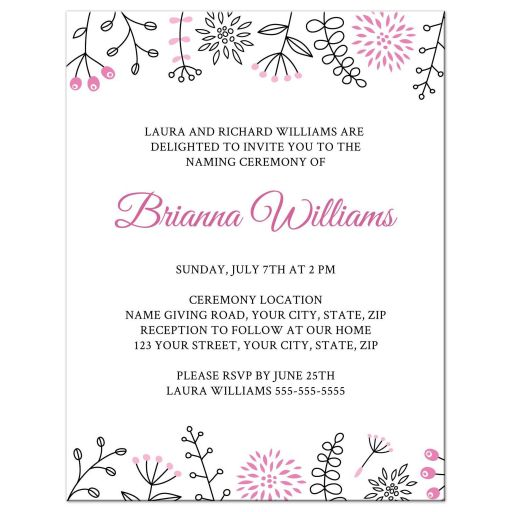 Cute name giving ceremony invitation with pink doodle flowers and nature elements