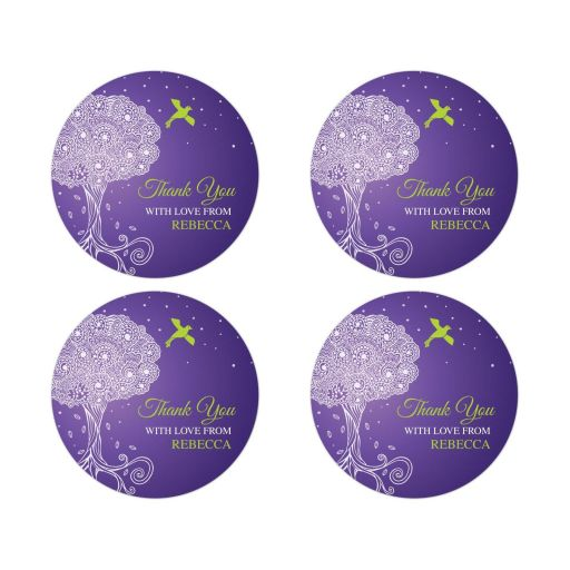 Bat Mitzvah Round Favor Stickers - Purple Ornate Tree of Life with Dove