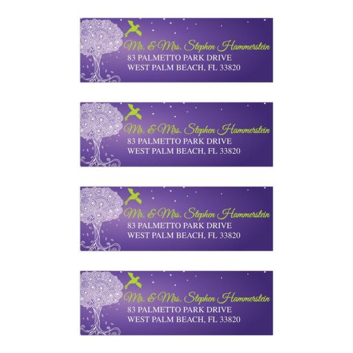 Bat Mitzvah Address Labels - Purple Ornate Tree of Life with Dove