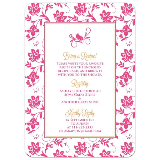 ​Hot pink gerbera daisy and damask floral orange ribbon bridal shower invitation back