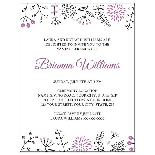 NamingName Giving Ceremony Invitation With Cute And Modern Floral