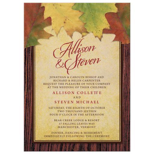 Rustic Autumn Leaves Wedding Invitations front
