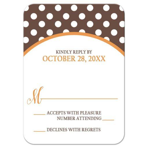 RSVP Reply Cards - Orange Brown Polka Dot