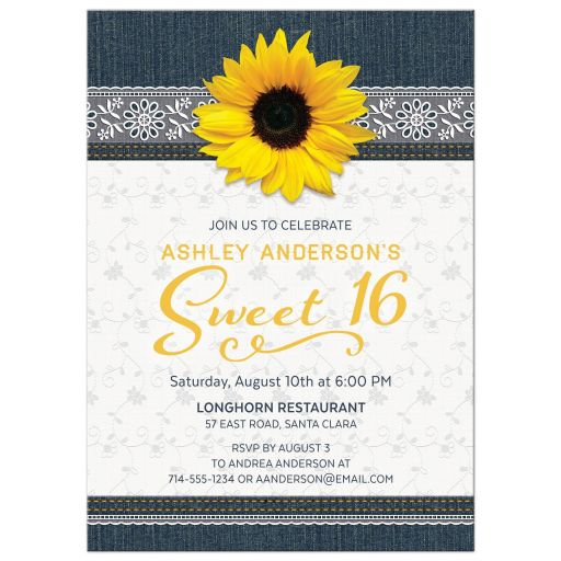 Denim jeans, lace, and sunflower flower country sweet 16 invitation front