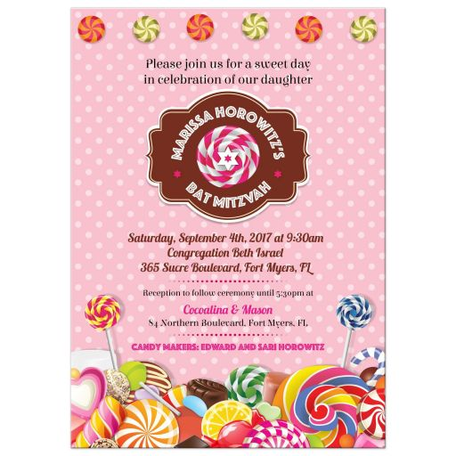 Bat Mitzvah Invitation - Sweet Pink Polka Dot Candy Buffet