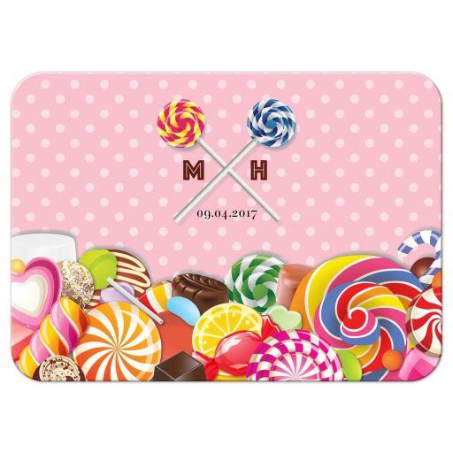 Bat Mitzvah Reply RSVP Card - Sweet Pink Polka Dot Candy Buffet