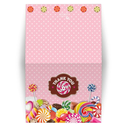 Bat Mitzvah Thank You Card - Sweet Pink Polka Dot Candy Buffet