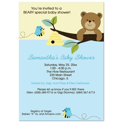 Bear and Bumble Bee Baby Shower Invitations - Blue and Yellow (Boy)