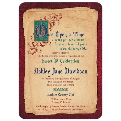 ​Unique fairy tale, fantasy once upon a time sweet 16 invitation front
