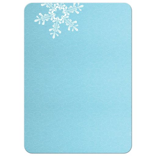 Turquoise and royal blue snowflake once upon a time winter wonderland sweet 16 invitation back