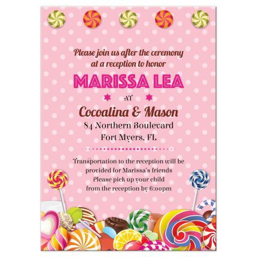 Bat Mitzvah Reception Insert Card - Sweet Pink Polka Dot Candy Buffet