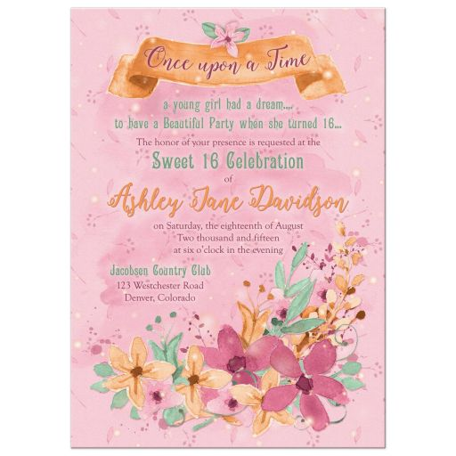 Whimsical fairy tale once upon a time watercolor floral sweet 16 invitation front