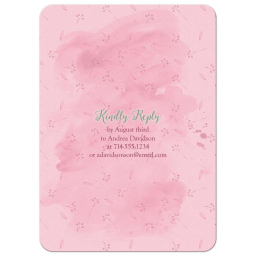 Whimsical fairy tale once upon a time watercolor floral sweet 16 invitation back