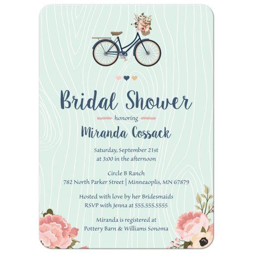 Blush pink and navy floral bike bridal shower invitation