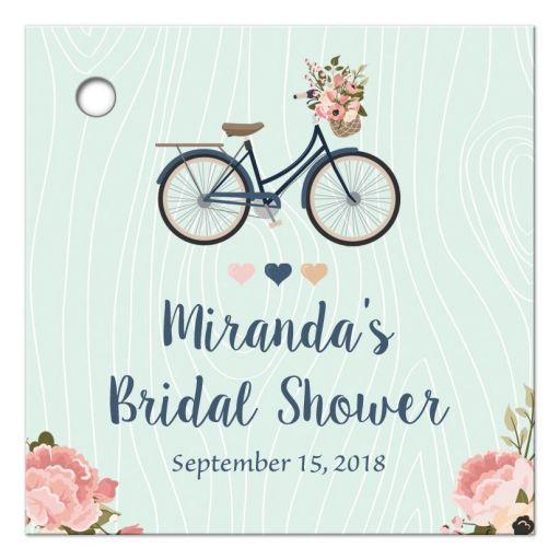 Floral bike personalized bridal shower favor gift tag