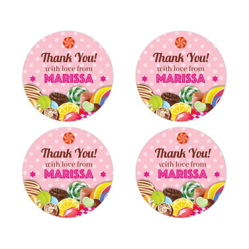 Bat Mitzvah Round Favor Stickers - Sweet Pink Polka Dot Candy Buffet