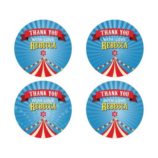 Bar Bat Mitzvah Round Thank You Stickers - Circus Carnival Big Top