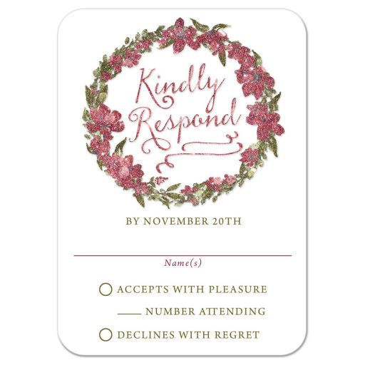 Frosted Winter Floral Wreath Wedding Response Cards