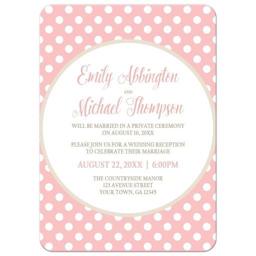 Reception Only Invitations - Khaki Blush Pink Polka Dot